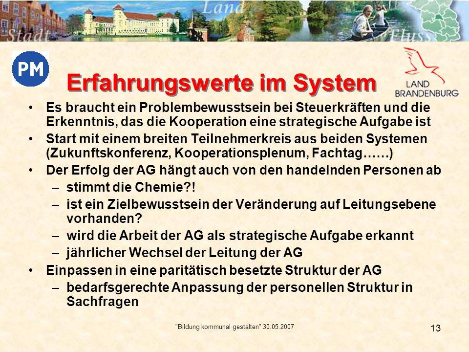 Bildung kommunal gestalten 30.05.2007 14 Erfahrungswerte im System eine Begleitung von außen erscheint uns als zwingend notwendig.