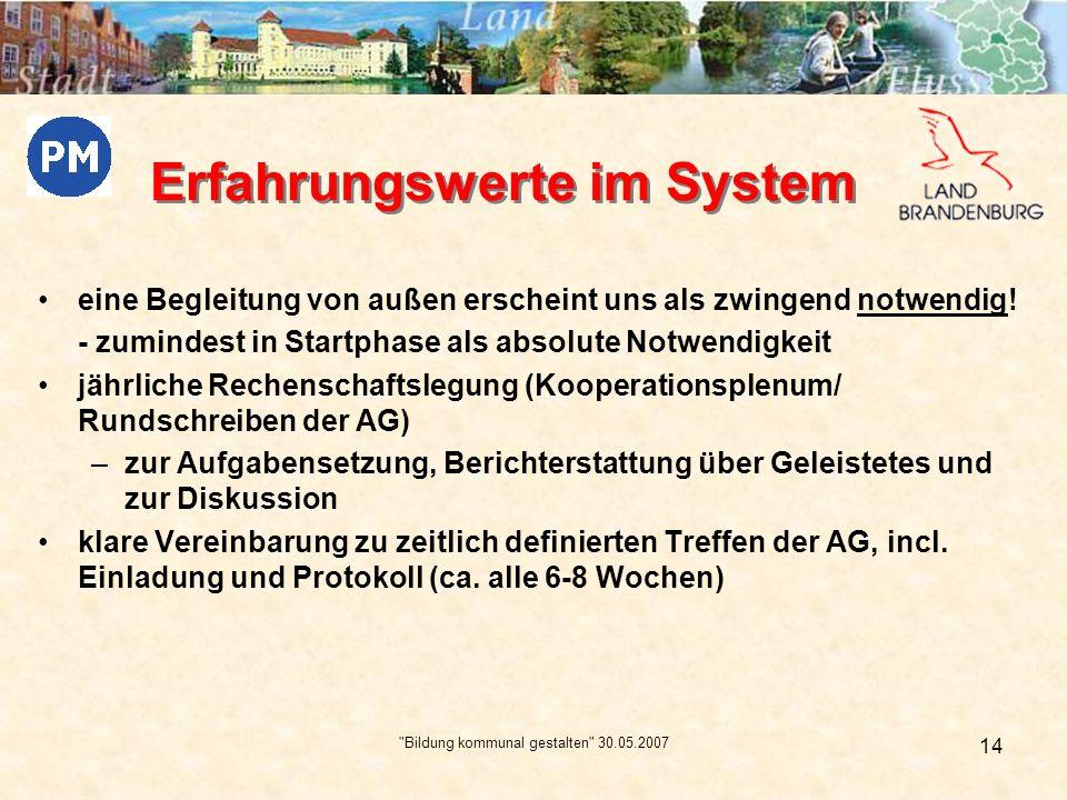 Bildung kommunal gestalten 30.05.2007 15 Stolpersteine zu viele Ziele – bringen Zeitprobleme mit sich –Was kann die AG in welchen Dimensionen bearbeiten.
