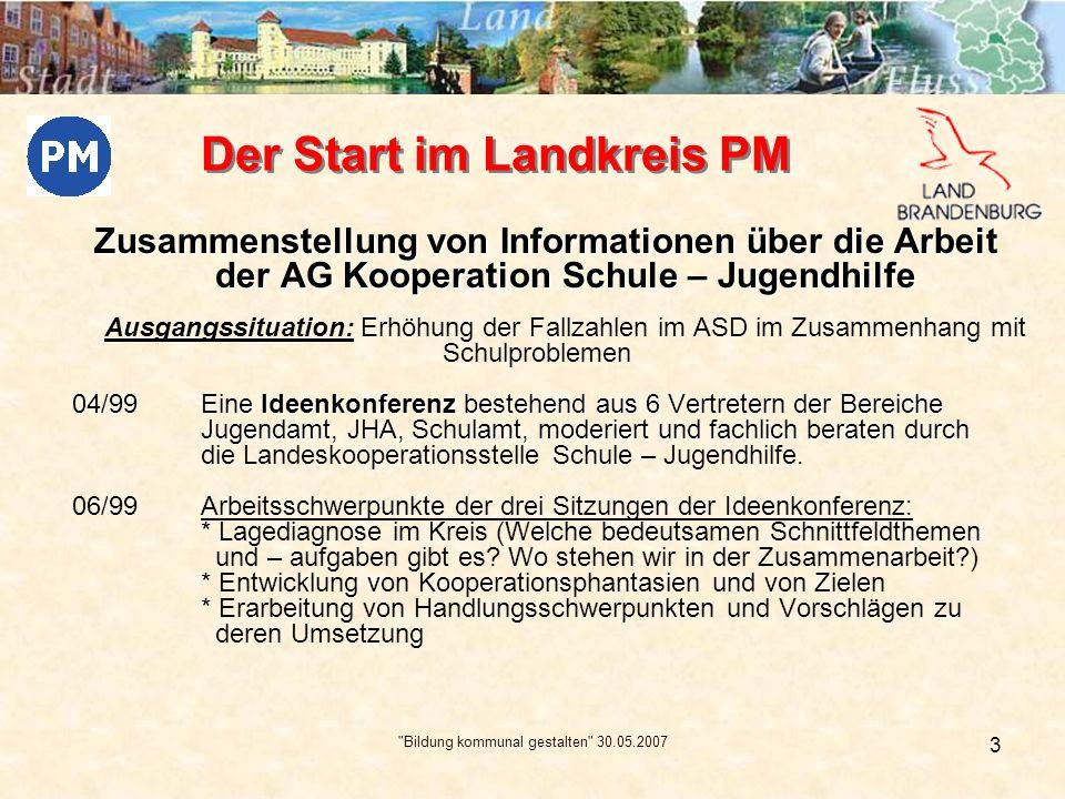 Bildung kommunal gestalten 30.05.2007 4 09/99 Gemeinsame Veranstaltung von Jugend- und Schulamt: * Auftaktveranstaltung mit ca.