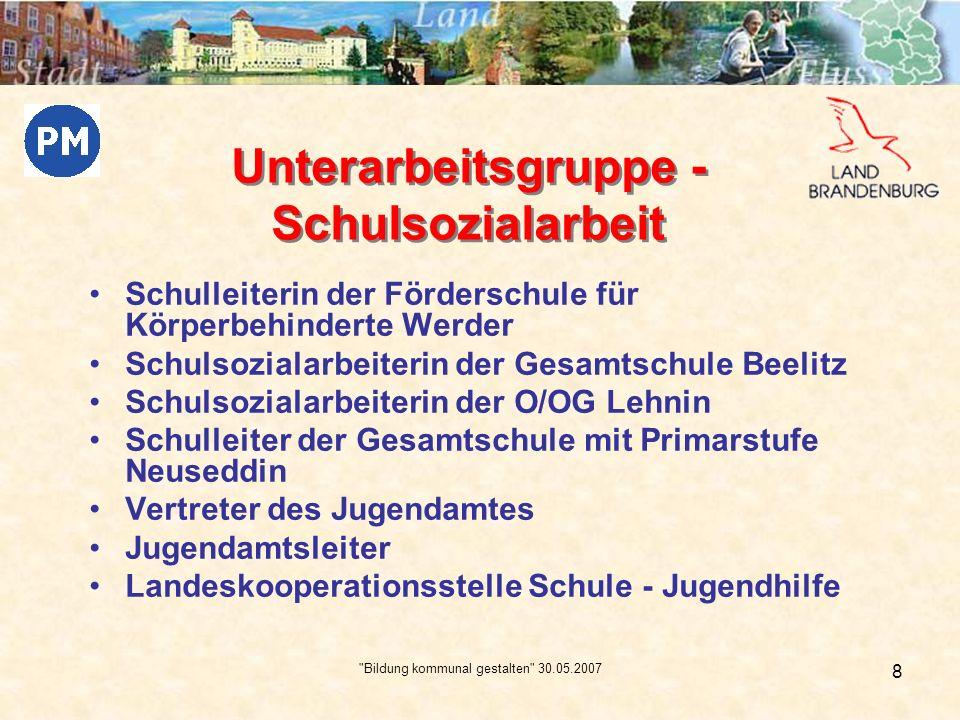 Bildung kommunal gestalten 30.05.2007 9 10/01 Kooperationsplenum 11/01 AG – Arbeit mit Schwerpunkten: - * Weiterarbeit an der o.g.