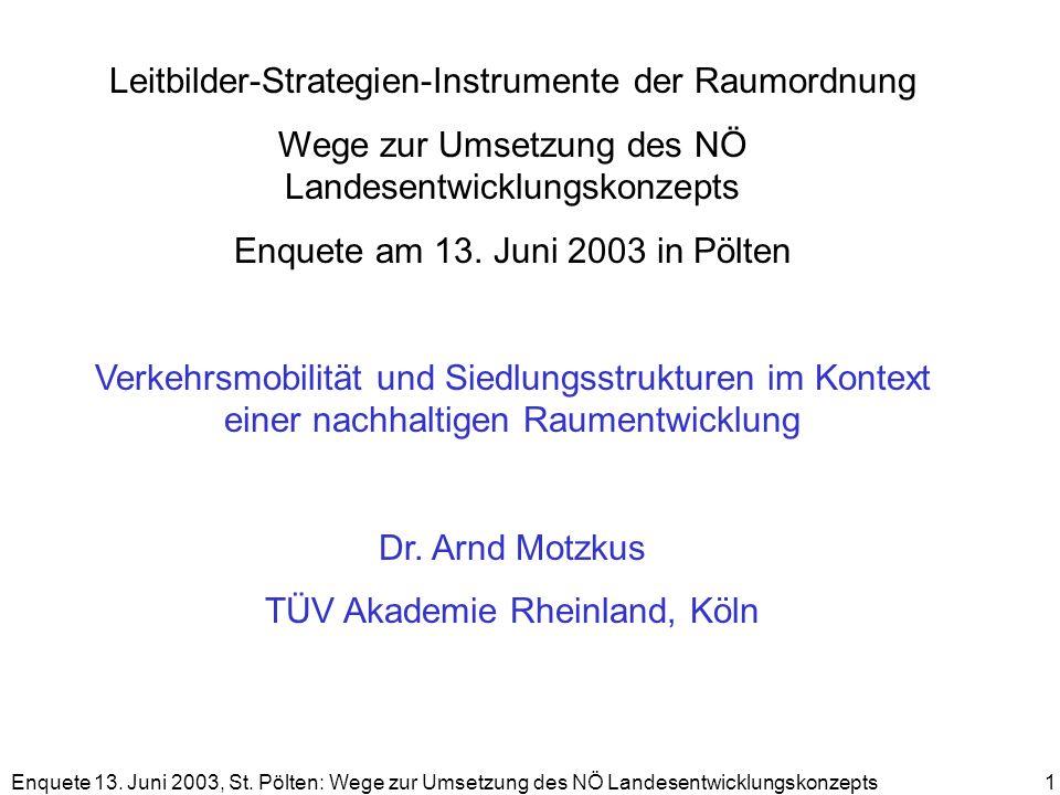 Enquete 13. Juni 2003, St. Pölten: Wege zur Umsetzung des NÖ Landesentwicklungskonzepts 1 Leitbilder-Strategien-Instrumente der Raumordnung Wege zur U