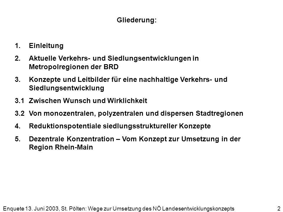 Enquete 13. Juni 2003, St. Pölten: Wege zur Umsetzung des NÖ Landesentwicklungskonzepts 2 Gliederung: 1.Einleitung 2.Aktuelle Verkehrs- und Siedlungse