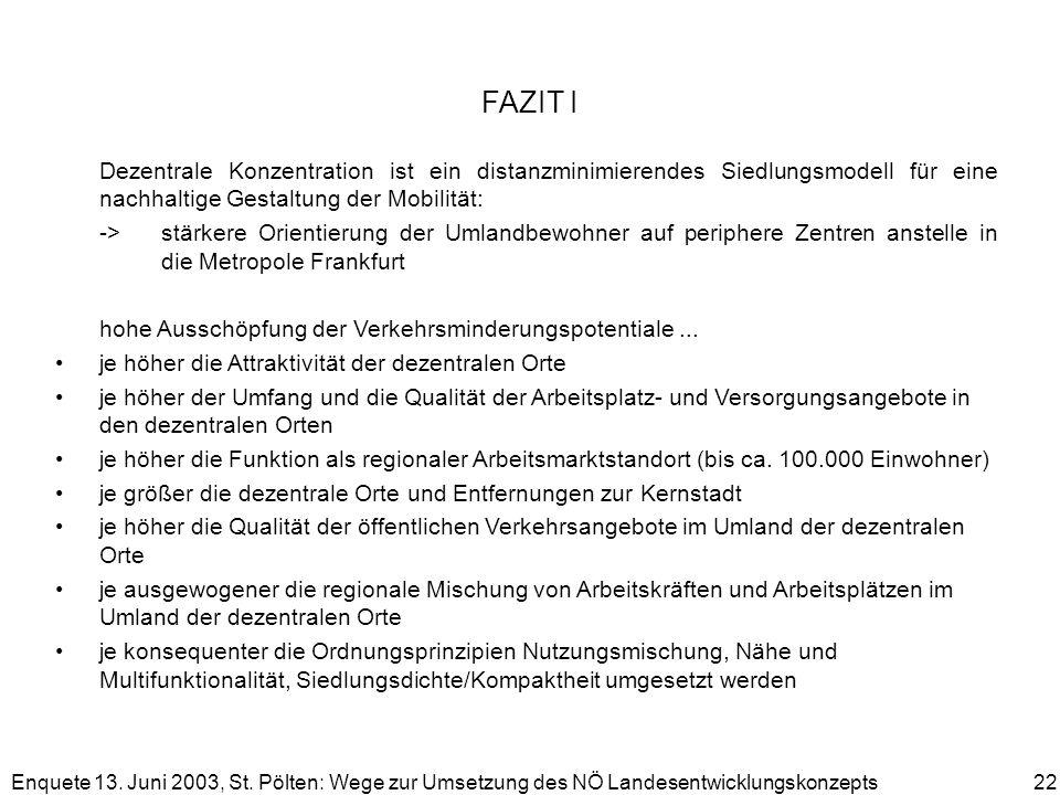 Enquete 13. Juni 2003, St. Pölten: Wege zur Umsetzung des NÖ Landesentwicklungskonzepts 22 FAZIT I Dezentrale Konzentration ist ein distanzminimierend