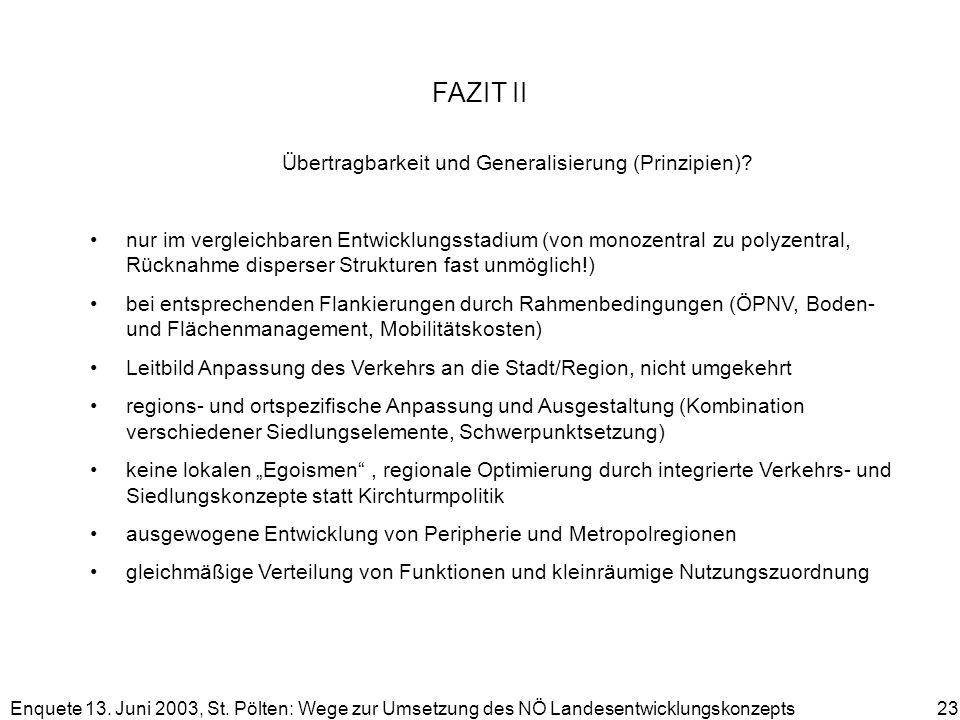 Enquete 13. Juni 2003, St. Pölten: Wege zur Umsetzung des NÖ Landesentwicklungskonzepts 23 FAZIT II Übertragbarkeit und Generalisierung (Prinzipien)?