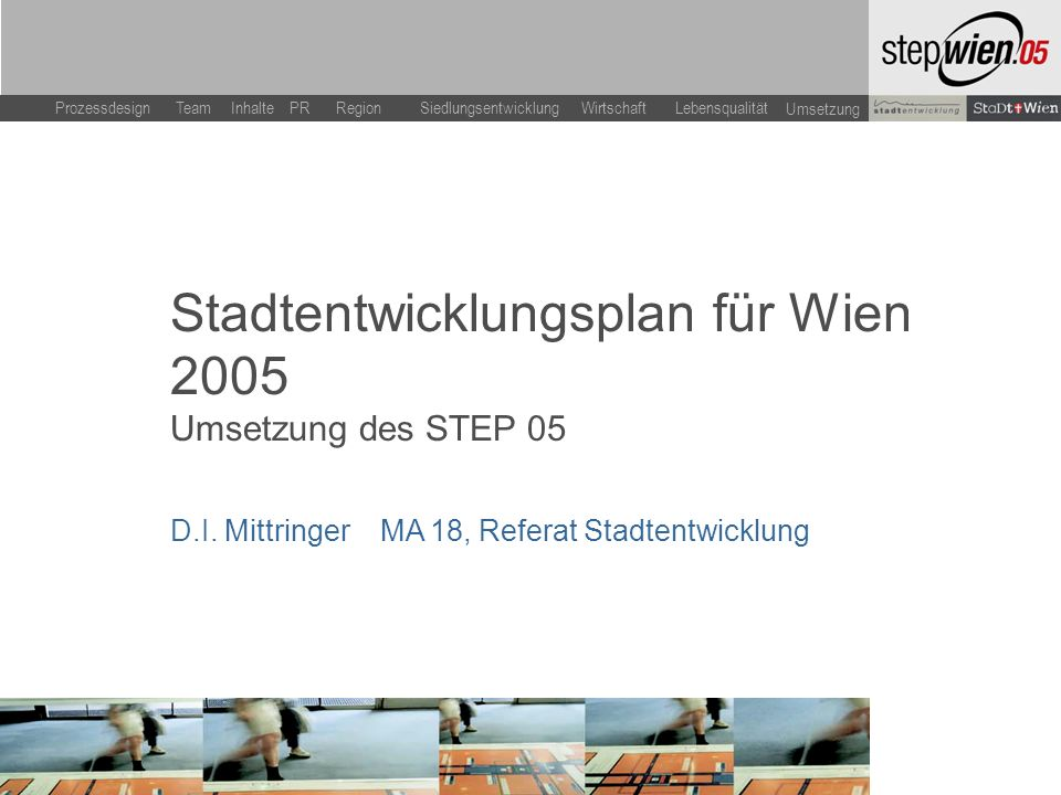 LebensqualitätWirtschaftSiedlungsentwicklung Team Inhalte ProzessdesignPR Region Umsetzung Stadtentwicklungsplan für Wien 2005 Umsetzung des STEP 05 D.I.
