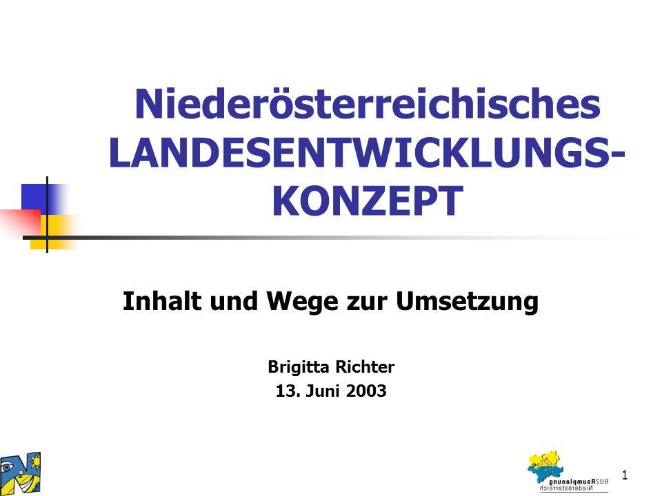 1 Niederösterreichisches LANDESENTWICKLUNGS- KONZEPT Inhalt und Wege zur Umsetzung Brigitta Richter 13.