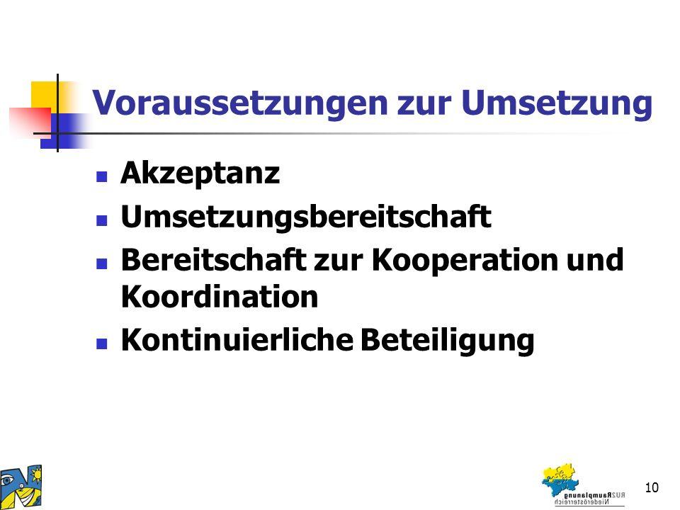 10 Voraussetzungen zur Umsetzung Akzeptanz Umsetzungsbereitschaft Bereitschaft zur Kooperation und Koordination Kontinuierliche Beteiligung