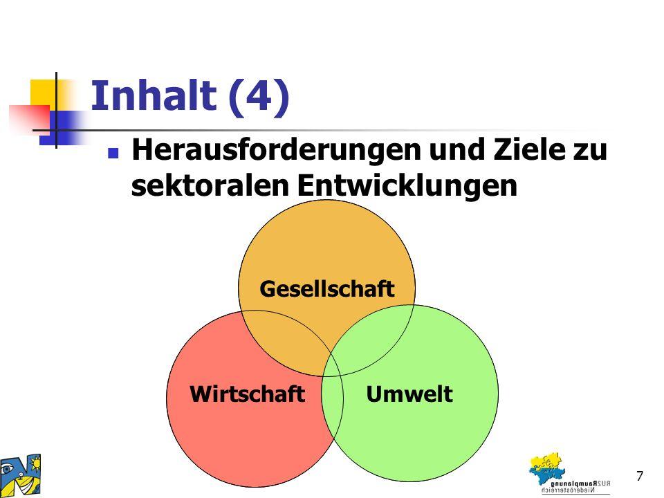 7 Inhalt (4) Herausforderungen und Ziele zu sektoralen Entwicklungen Gesellschaft Umwelt Wirtschaft