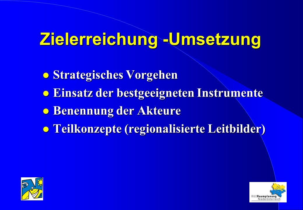 Zielerreichung -Umsetzung l Strategisches Vorgehen l Einsatz der bestgeeigneten Instrumente l Benennung der Akteure l Teilkonzepte (regionalisierte Leitbilder)