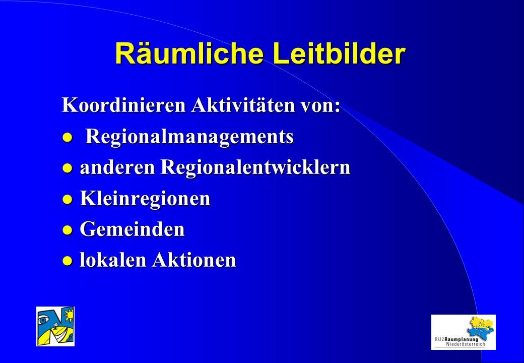 Räumliche Leitbilder Koordinieren Aktivitäten von: l Regionalmanagements l anderen Regionalentwicklern l Kleinregionen l Gemeinden l lokalen Aktionen