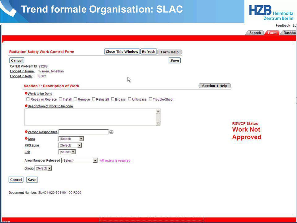 Trend formale Organisation: CERN