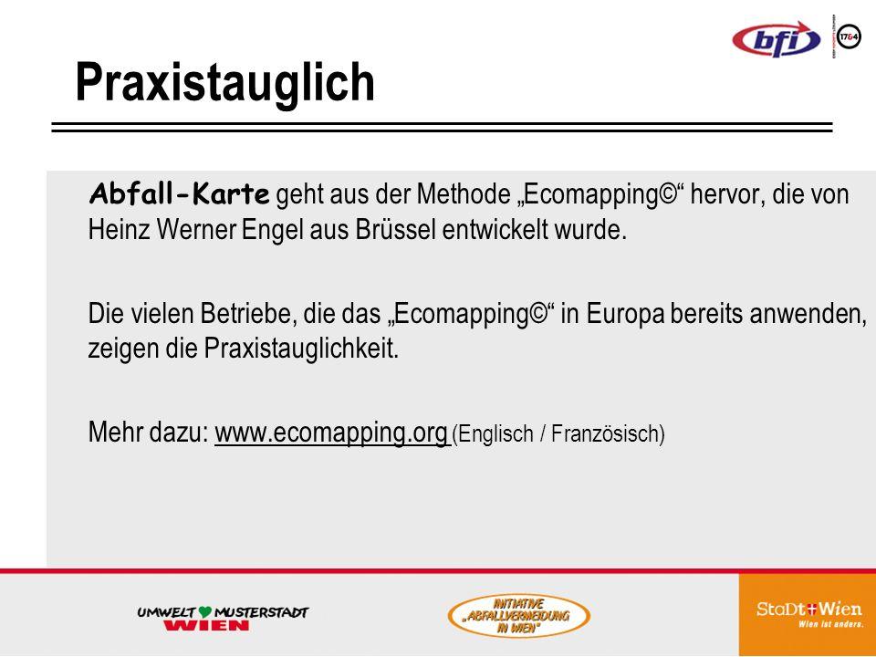 Praxistauglich Abfall-Karte geht aus der Methode Ecomapping© hervor, die von Heinz Werner Engel aus Brüssel entwickelt wurde.
