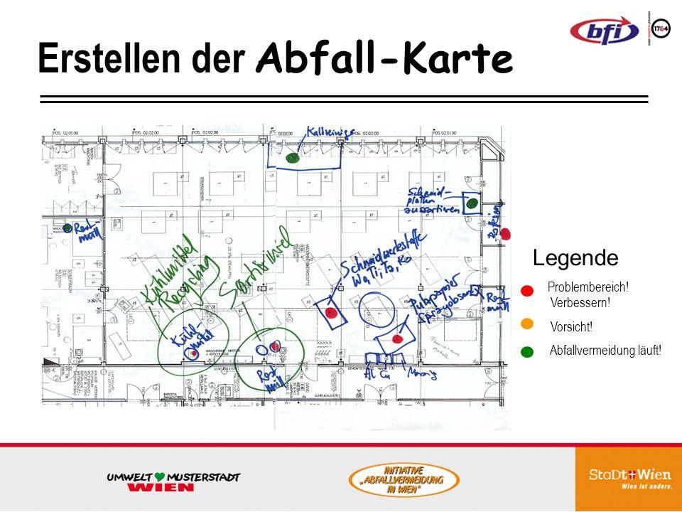 Abb.: Trennsystem mit mehreren Mulden für die Metallabfälle in einer der Werkstätten im Berufsaus- bildungszentrum BAZ des bfi wien