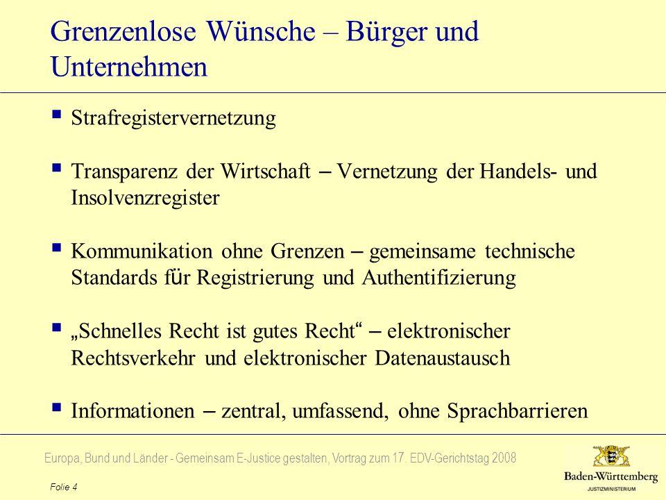 Europa, Bund und Länder - Gemeinsam E-Justice gestalten, Vortrag zum 17. EDV-Gerichtstag 2008 Folie 4 Grenzenlose Wünsche – Bürger und Unternehmen Str