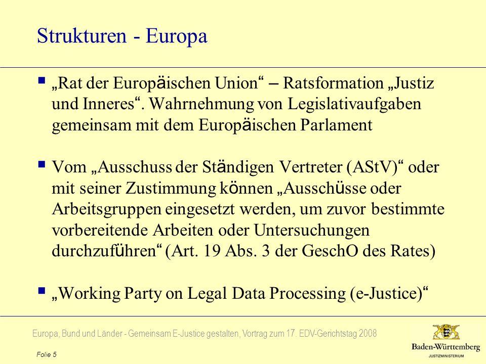 Europa, Bund und Länder - Gemeinsam E-Justice gestalten, Vortrag zum 17. EDV-Gerichtstag 2008 Folie 5 Strukturen - Europa Rat der Europ ä ischen Union