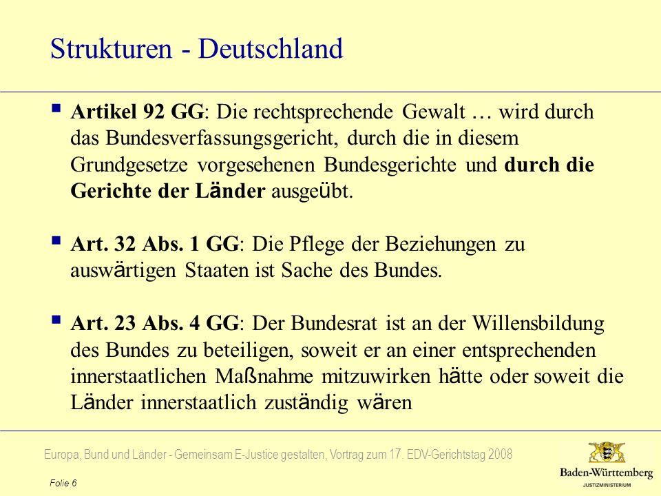 Europa, Bund und Länder - Gemeinsam E-Justice gestalten, Vortrag zum 17. EDV-Gerichtstag 2008 Folie 6 Strukturen - Deutschland Artikel 92 GG: Die rech