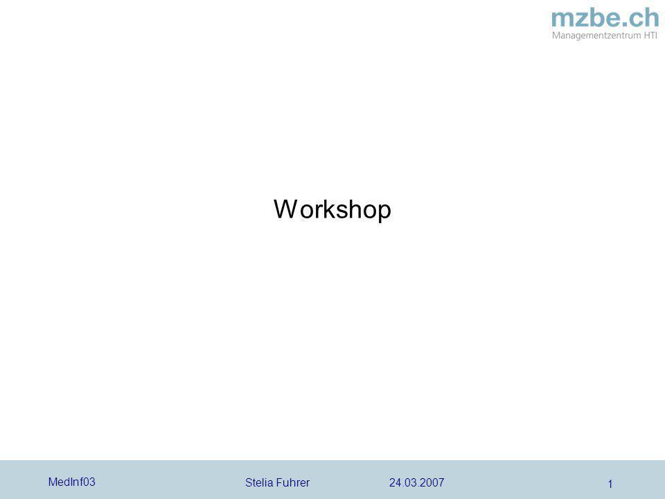 Stelia Fuhrer 24.03.2007 MedInf03 2 Workshop Bitte bilden Sie 2-er Gruppen Sie bekommen eine Produkteliste und sollen aufgrund der zugestellten Definitionen von klassischen Medizinprodukten, entscheiden, ob es sich bei den aufgelisteten Produkten um Medizinprodukte handelt oder nicht.