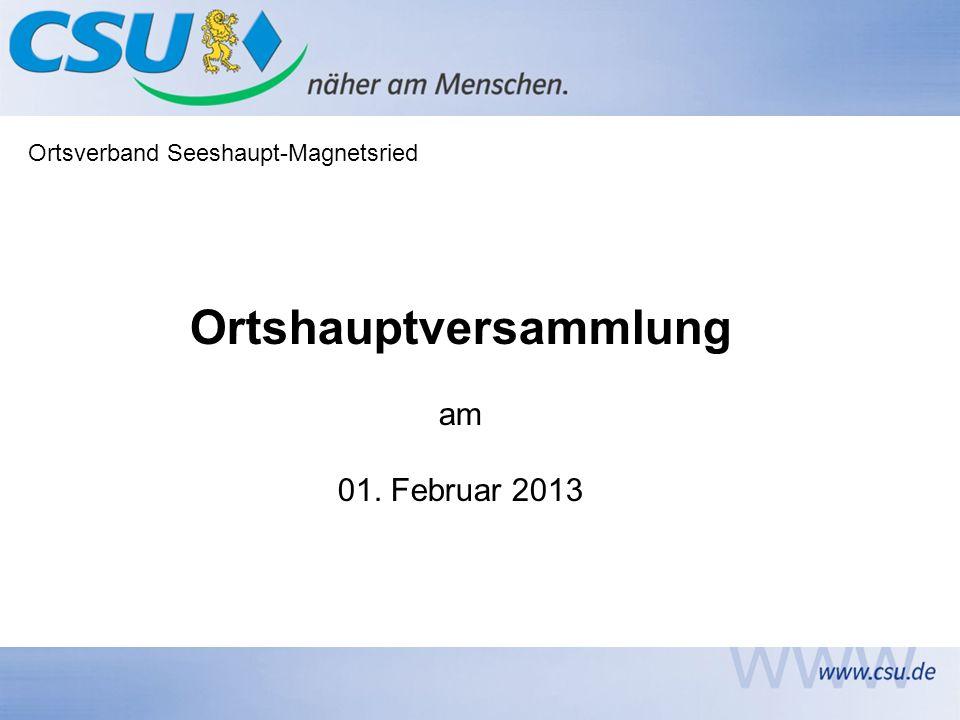 Ortsverband Seeshaupt-Magnetsried Ortshauptversammlung am 01. Februar 2013