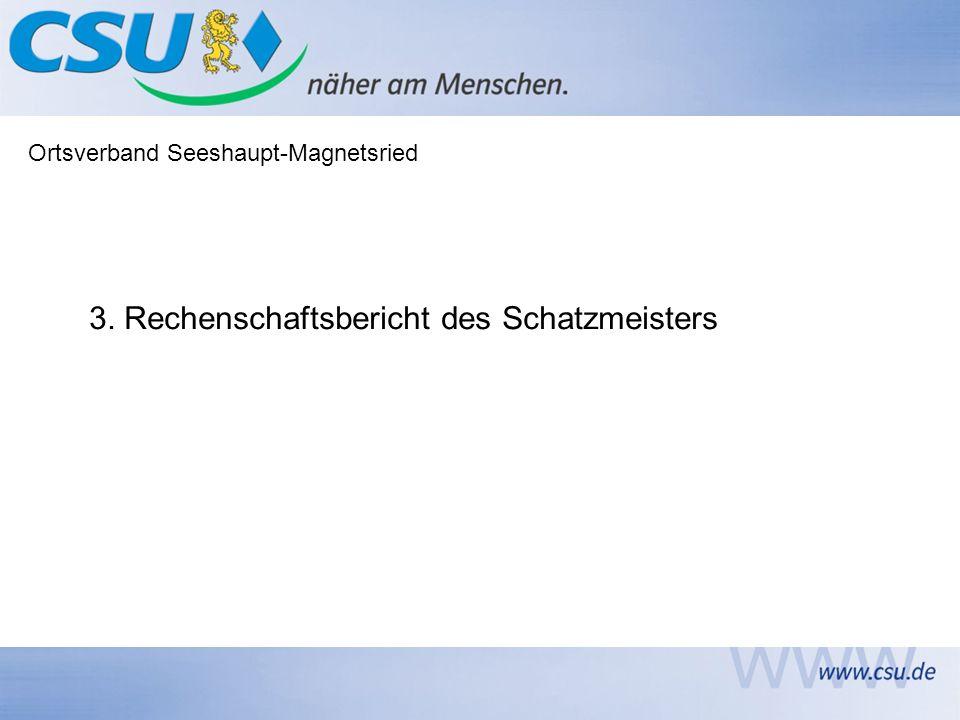 Ortsverband Seeshaupt-Magnetsried 3. Rechenschaftsbericht des Schatzmeisters