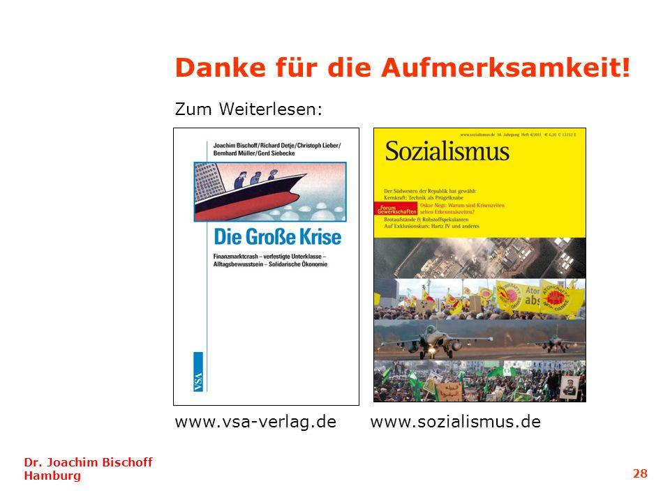 28 Dr. Joachim Bischoff Hamburg Danke für die Aufmerksamkeit! Zum Weiterlesen: www.vsa-verlag.dewww.sozialismus.de