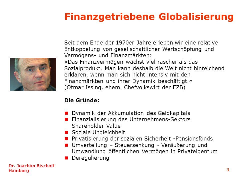 3 Dr. Joachim Bischoff Hamburg Seit dem Ende der 1970er Jahre erleben wir eine relative Entkoppelung von gesellschaftlicher Wertschöpfung und Vermögen