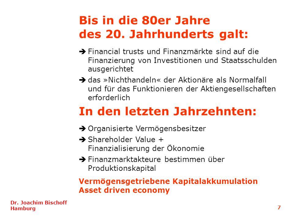 7 Dr. Joachim Bischoff Hamburg Financial trusts und Finanzmärkte sind auf die Finanzierung von Investitionen und Staatsschulden ausgerichtet das »Nich