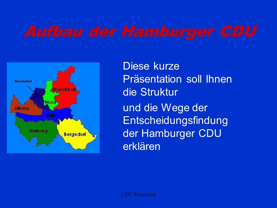 CDU Hamburg Aufbau der Hamburger CDU Diese kurze Präsentation soll Ihnen die Struktur und die Wege der Entscheidungsfindung der Hamburger CDU erklären