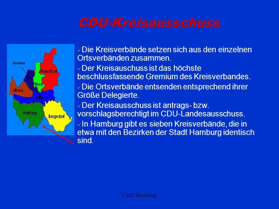 CDU Hamburg CDU-Kreisausschuss Die Kreisverbände setzen sich aus den einzelnen Ortsverbänden zusammen. Der Kreisauschuss ist das höchste beschlussfass