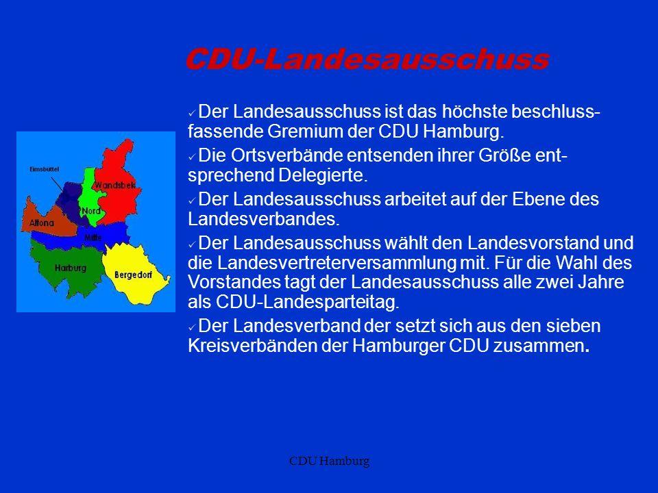 CDU Hamburg CDU-Landesausschuss Der Landesausschuss ist das höchste beschluss- fassende Gremium der CDU Hamburg. Die Ortsverbände entsenden ihrer Größ