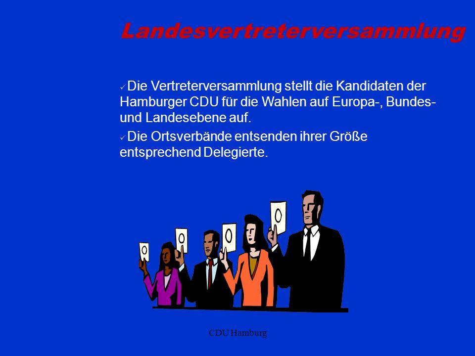 CDU Hamburg Landesvertreterversammlung Die Vertreterversammlung stellt die Kandidaten der Hamburger CDU für die Wahlen auf Europa-, Bundes- und Landesebene auf.