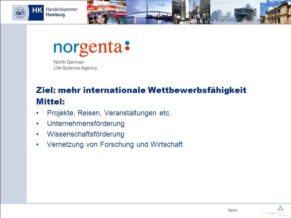 Datum Ziel: mehr internationale Wettbewerbsfähigkeit Mittel: Projekte, Reisen, Veranstaltungen etc. Unternehmensförderung Wissenschaftsförderung Verne