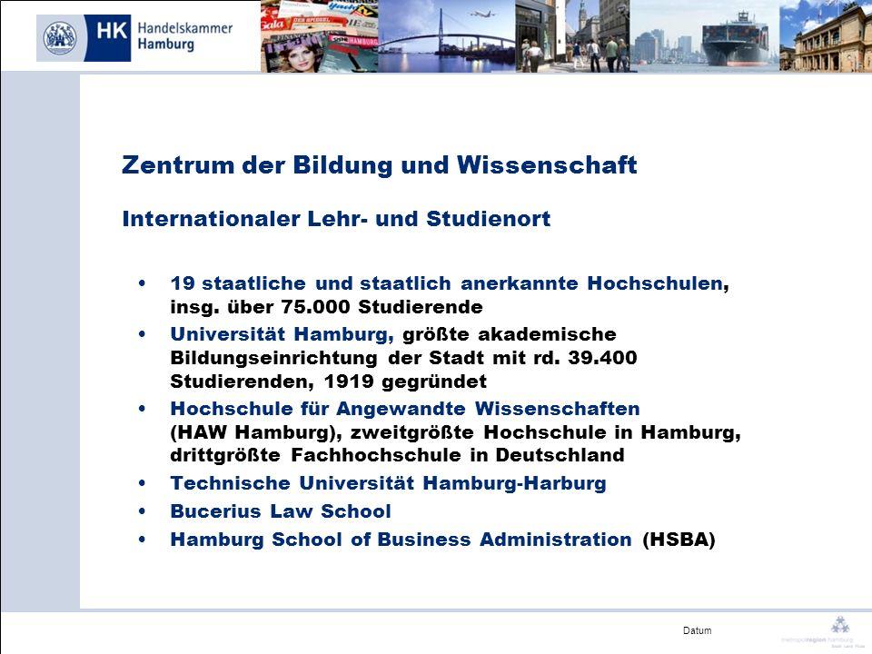 Datum Zentrum der Bildung und Wissenschaft Internationaler Lehr- und Studienort 19 staatliche und staatlich anerkannte Hochschulen, insg. über 75.000