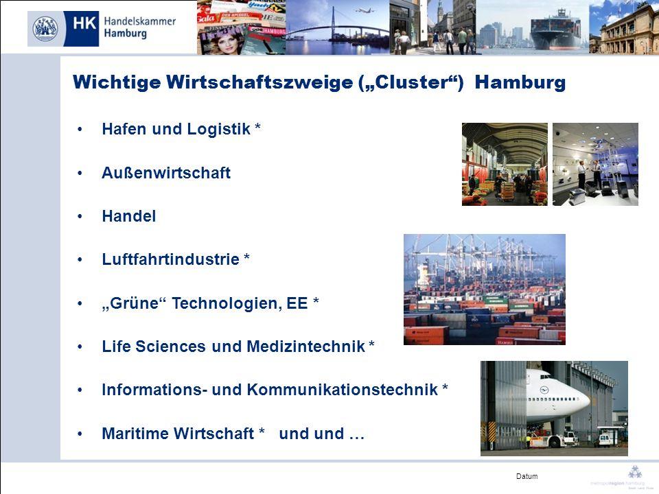 Datum Wichtige Wirtschaftszweige (Cluster) Hamburg Hafen und Logistik * Außenwirtschaft Handel Luftfahrtindustrie * Grüne Technologien, EE * Life Scie