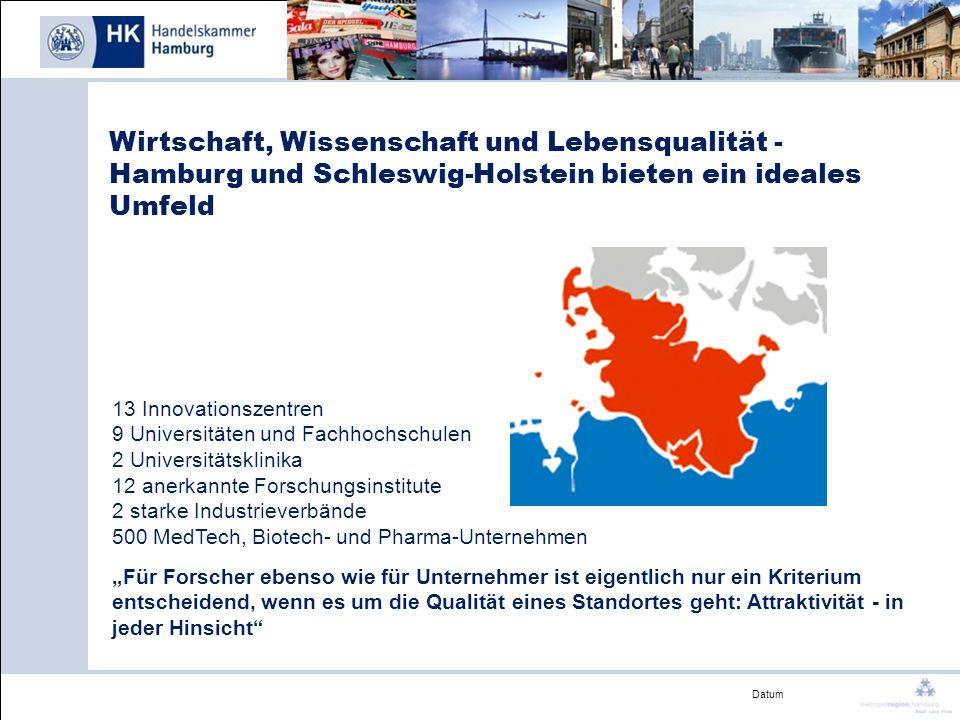 Datum Wirtschaft, Wissenschaft und Lebensqualität - Hamburg und Schleswig-Holstein bieten ein ideales Umfeld 13 Innovationszentren 9 Universitäten und