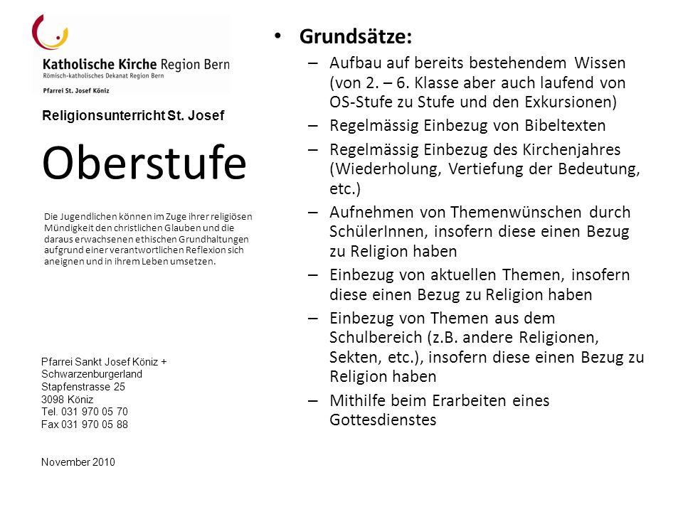 Pfarrei Sankt Josef Köniz + Schwarzenburgerland Stapfenstrasse 25 3098 Köniz Tel.