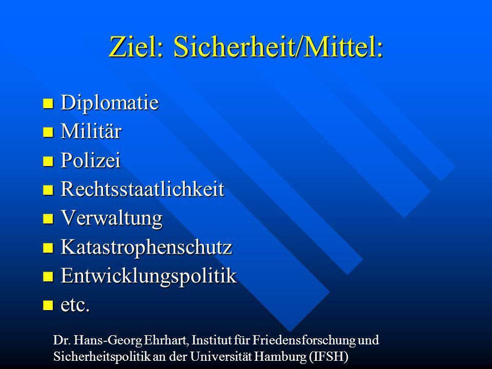 Ziel: Sicherheit/Mittel: Diplomatie Diplomatie Militär Militär Polizei Polizei Rechtsstaatlichkeit Rechtsstaatlichkeit Verwaltung Verwaltung Katastrop