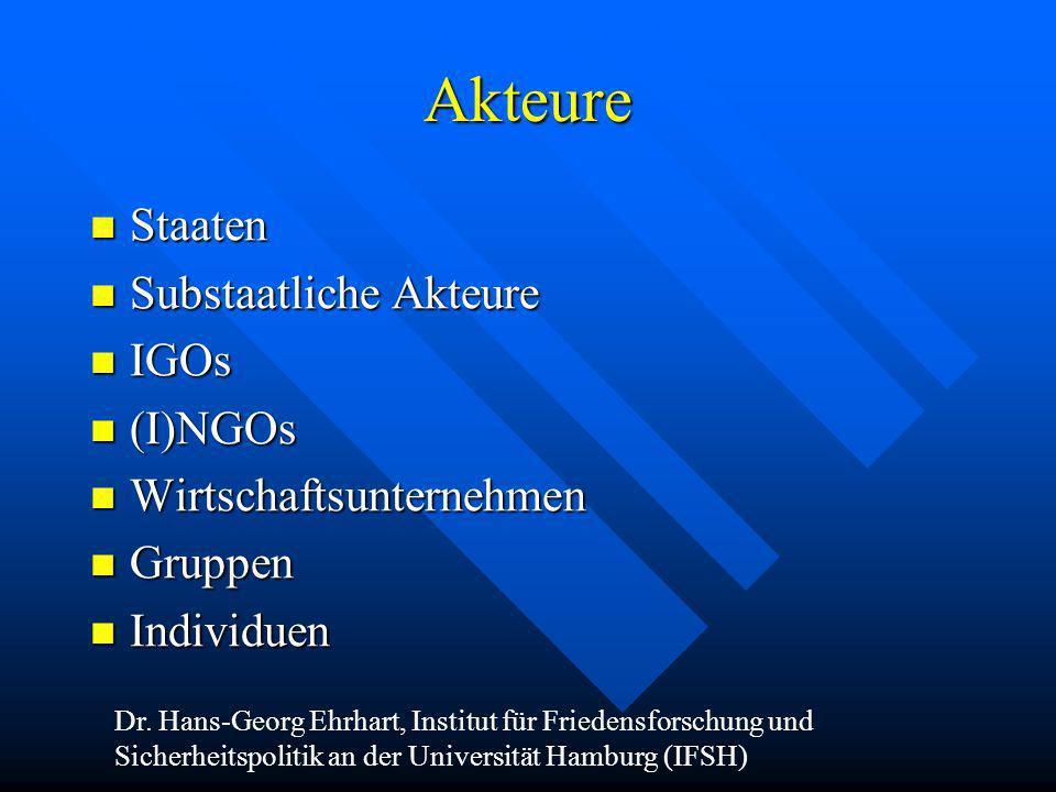 Akteure Staaten Staaten Substaatliche Akteure Substaatliche Akteure IGOs IGOs (I)NGOs (I)NGOs Wirtschaftsunternehmen Wirtschaftsunternehmen Gruppen Gr