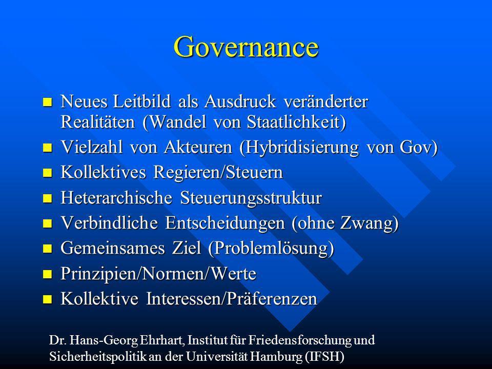 Governance Neues Leitbild als Ausdruck veränderter Realitäten (Wandel von Staatlichkeit) Neues Leitbild als Ausdruck veränderter Realitäten (Wandel vo
