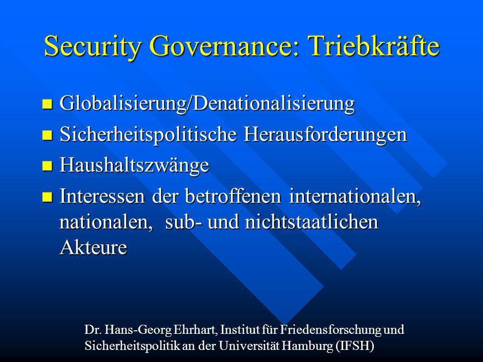 Security Governance: Triebkräfte Globalisierung/Denationalisierung Globalisierung/Denationalisierung Sicherheitspolitische Herausforderungen Sicherhei