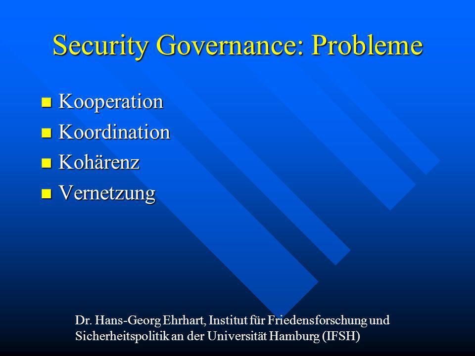 Security Governance: Probleme Kooperation Kooperation Koordination Koordination Kohärenz Kohärenz Vernetzung Vernetzung Dr. Hans-Georg Ehrhart, Instit