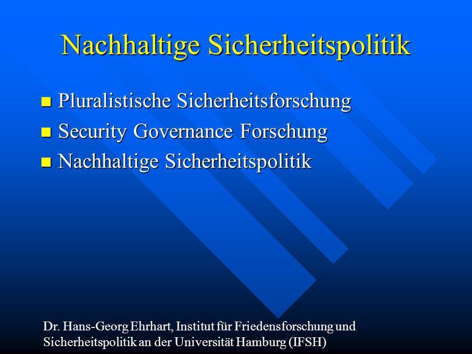 Nachhaltige Sicherheitspolitik Pluralistische Sicherheitsforschung Pluralistische Sicherheitsforschung Security Governance Forschung Security Governan