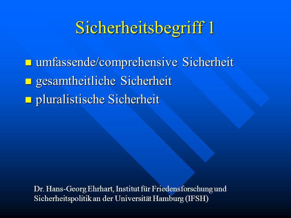 Sicherheitsbegriff 1 umfassende/comprehensive Sicherheit umfassende/comprehensive Sicherheit gesamtheitliche Sicherheit gesamtheitliche Sicherheit plu