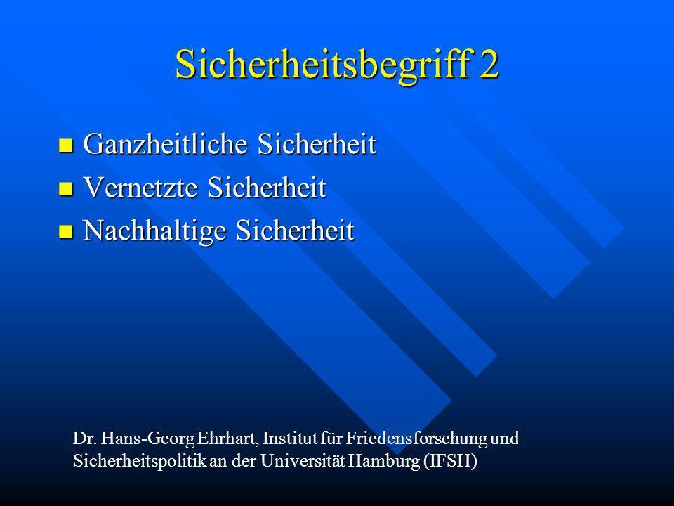 Sicherheitsbegriff 2 Ganzheitliche Sicherheit Ganzheitliche Sicherheit Vernetzte Sicherheit Vernetzte Sicherheit Nachhaltige Sicherheit Nachhaltige Si