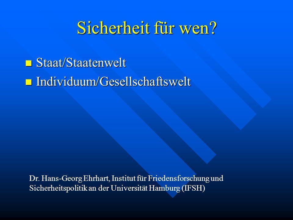 Sicherheit für wen? Staat/Staatenwelt Staat/Staatenwelt Individuum/Gesellschaftswelt Individuum/Gesellschaftswelt Dr. Hans-Georg Ehrhart, Institut für