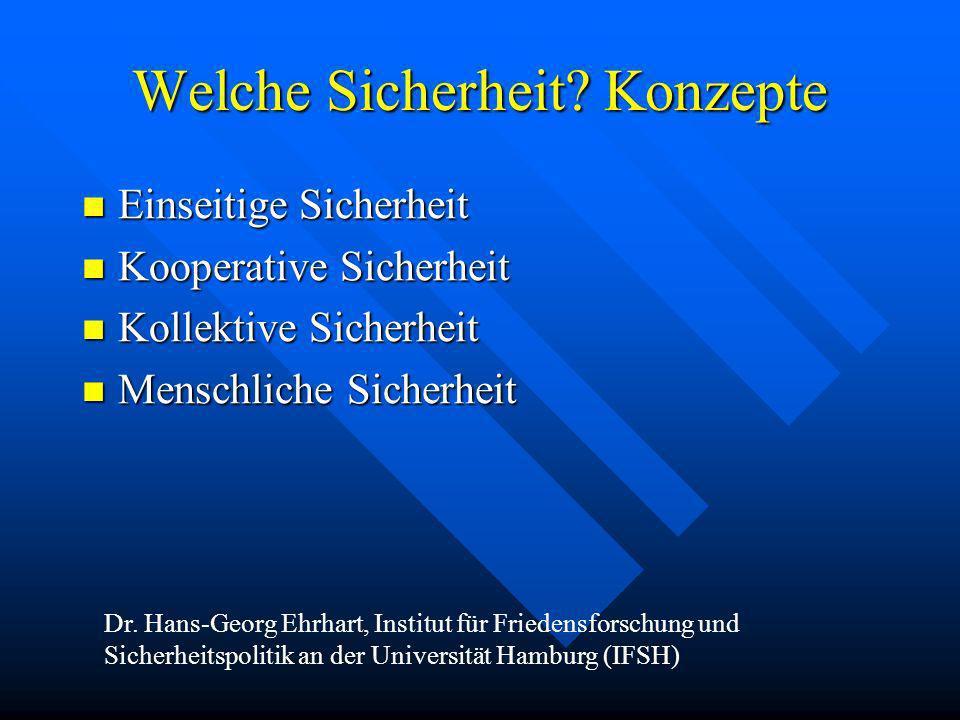 Welche Sicherheit? Konzepte Einseitige Sicherheit Einseitige Sicherheit Kooperative Sicherheit Kooperative Sicherheit Kollektive Sicherheit Kollektive