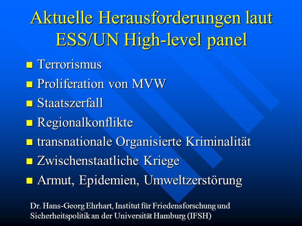 Aktuelle Herausforderungen laut ESS/UN High-level panel Terrorismus Terrorismus Proliferation von MVW Proliferation von MVW Staatszerfall Staatszerfal