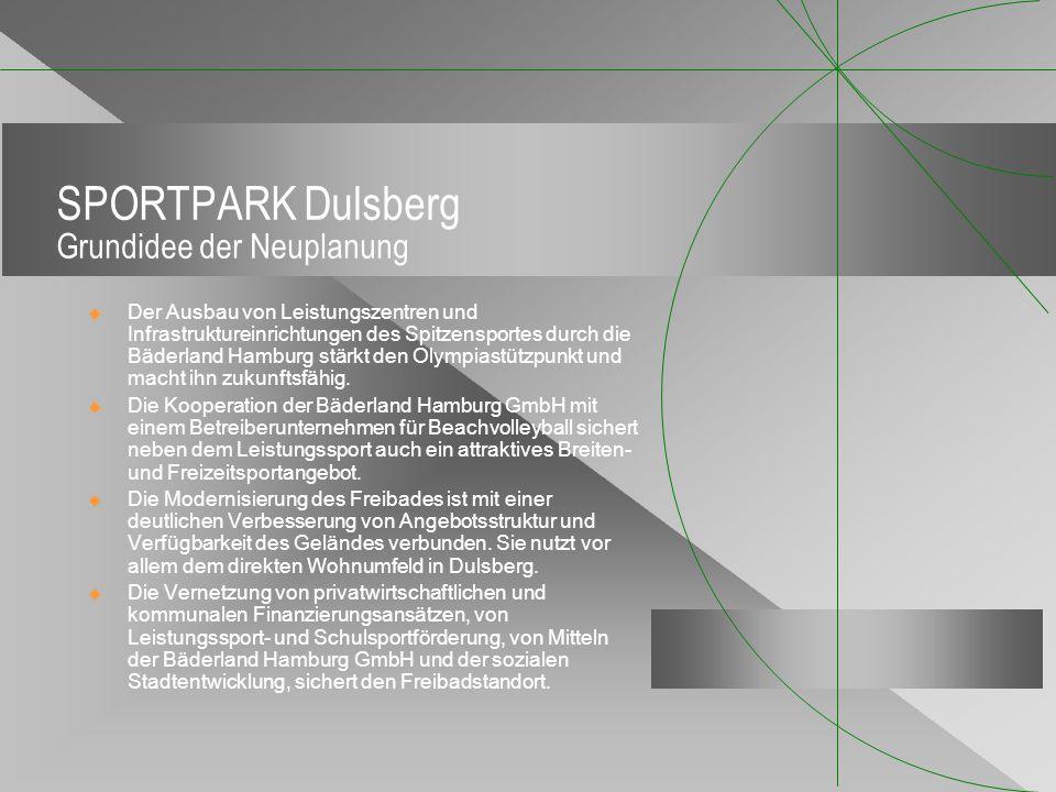 SPORTPARK Dulsberg Grundidee der Neuplanung Der Ausbau von Leistungszentren und Infrastruktureinrichtungen des Spitzensportes durch die Bäderland Hamb
