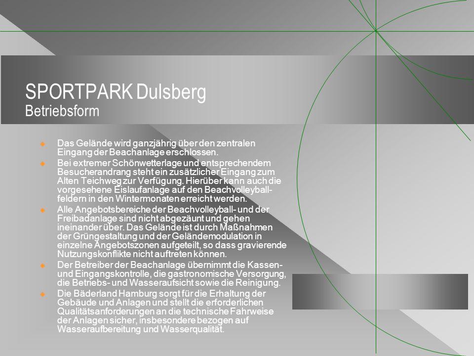 SPORTPARK Dulsberg Betriebsform Das Gelände wird ganzjährig über den zentralen Eingang der Beachanlage erschlossen. Bei extremer Schönwetterlage und e