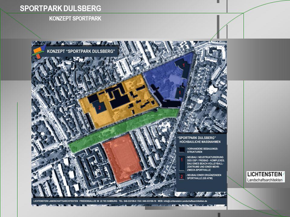 SPORTPARK Dulsberg Grundidee der Neuplanung Der Ausbau von Leistungszentren und Infrastruktureinrichtungen des Spitzensportes durch die Bäderland Hamburg stärkt den Olympiastützpunkt und macht ihn zukunftsfähig.