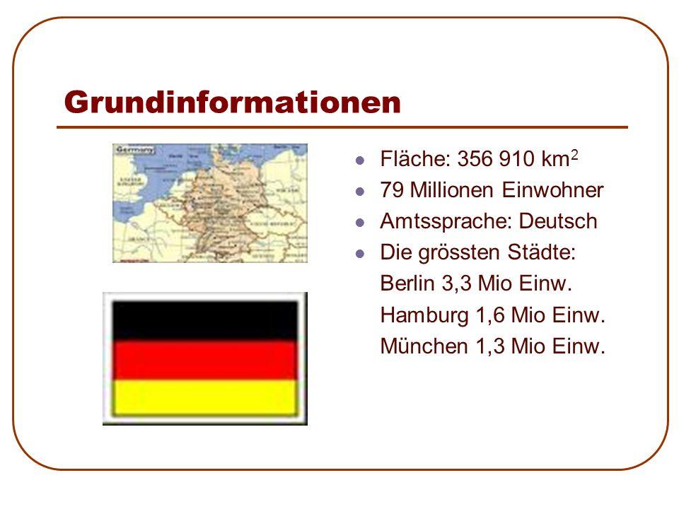 Grundinformationen Fläche: 356 910 km 2 79 Millionen Einwohner Amtssprache: Deutsch Die grössten Städte: Berlin 3,3 Mio Einw. Hamburg 1,6 Mio Einw. Mü